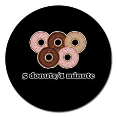 Five Donuts In One Minute  Magnet 5  (round) by Valentinaart