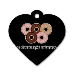 Five Donuts In One Minute  Dog Tag Heart (one Side) by Valentinaart