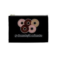 Five Donuts In One Minute  Cosmetic Bag (medium)  by Valentinaart