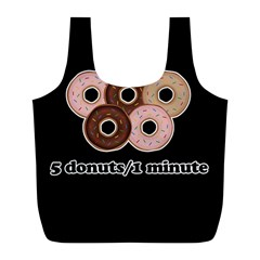 Five Donuts In One Minute  Full Print Recycle Bags (l)  by Valentinaart