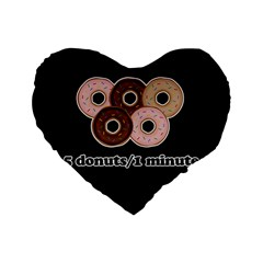Five Donuts In One Minute  Standard 16  Premium Flano Heart Shape Cushions by Valentinaart