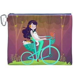 Bikeride Canvas Cosmetic Bag (xxxl) by Mjdaluz
