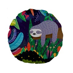 Sloth In Nature Standard 15  Premium Flano Round Cushions by Mjdaluz