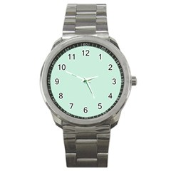 Pastel Color   Light Greenish Gray Sport Metal Watch by tarastyle
