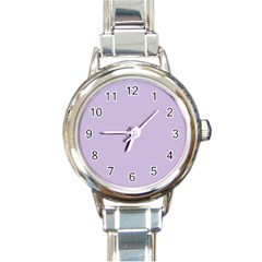 Pastel Color   Light Violetish Gray Round Italian Charm Watch by tarastyle