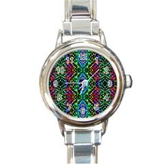 Glittering Kaleidoscope Mosaic Pattern Round Italian Charm Watch by Costasonlineshop