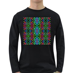 Glittering Kaleidoscope Mosaic Pattern Long Sleeve Dark T Shirts by Costasonlineshop