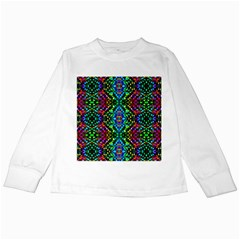 Glittering Kaleidoscope Mosaic Pattern Kids Long Sleeve T Shirts by Costasonlineshop