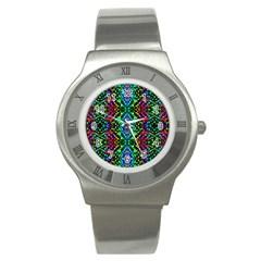 Glittering Kaleidoscope Mosaic Pattern Stainless Steel Watch by Costasonlineshop