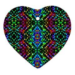 Glittering Kaleidoscope Mosaic Pattern Heart Ornament (two Sides) by Costasonlineshop