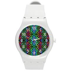 Glittering Kaleidoscope Mosaic Pattern Round Plastic Sport Watch (m) by Costasonlineshop
