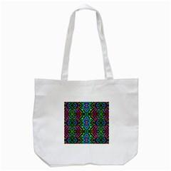Glittering Kaleidoscope Mosaic Pattern Tote Bag (white) by Costasonlineshop