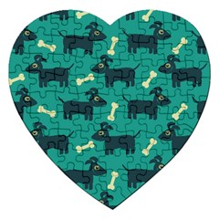 Happy Dogs Animals Pattern Jigsaw Puzzle (Heart) by Vayuart