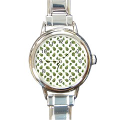Leaves Motif Nature Pattern Round Italian Charm Watch by dflcprints
