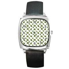 Leaves Motif Nature Pattern Square Metal Watch by dflcprints