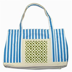 Leaves Motif Nature Pattern Striped Blue Tote Bag by dflcprints