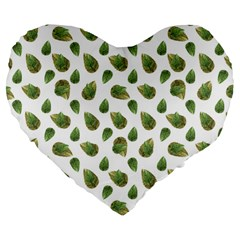 Leaves Motif Nature Pattern Large 19  Premium Flano Heart Shape Cushions by dflcprints
