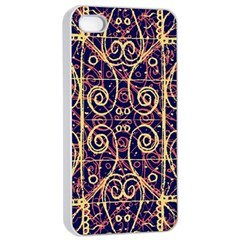 Tribal Ornate Pattern Apple Iphone 4/4s Seamless Case (white) by dflcprints