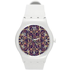 Tribal Ornate Pattern Round Plastic Sport Watch (m) by dflcprints