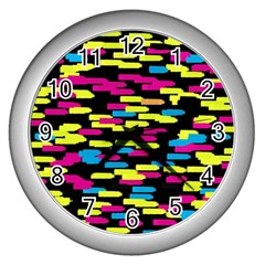 Colorful Strokes On A Black Background             Wall Clock (silver) by LalyLauraFLM