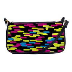 Colorful Strokes On A Black Background             Shoulder Clutch Bag by LalyLauraFLM