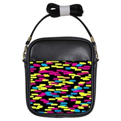 Colorful Strokes On A Black Background             Girls Sling Bag by LalyLauraFLM