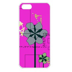 Flowers And Squares        Apple Iphone 5 Seamless Case (white) by LalyLauraFLM