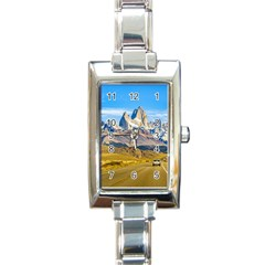 Snowy Andes Mountains, El Chalten, Argentina Rectangle Italian Charm Watch by dflcprints