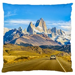 Snowy Andes Mountains, El Chalten, Argentina Large Flano Cushion Case (two Sides) by dflcprints