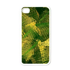 Green And Gold Abstract Apple Iphone 4 Case (white) by linceazul