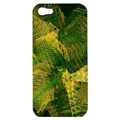 Green And Gold Abstract Apple Iphone 5 Hardshell Case by linceazul