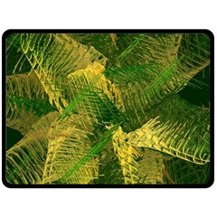 Green And Gold Abstract Double Sided Fleece Blanket (large)  by linceazul