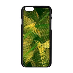 Green And Gold Abstract Apple Iphone 6/6s Black Enamel Case by linceazul