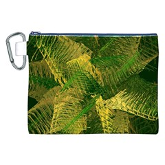 Green And Gold Abstract Canvas Cosmetic Bag (xxl) by linceazul