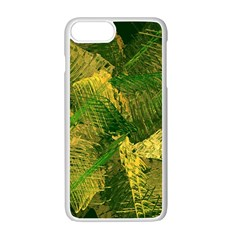 Green And Gold Abstract Apple Iphone 7 Plus White Seamless Case by linceazul