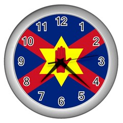 Flag Of The Ulster Nation Wall Clocks (silver)  by abbeyz71