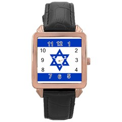 Flag Of Israel Rose Gold Leather Watch  by abbeyz71