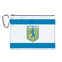 Flag Of Jerusalem Canvas Cosmetic Bag (l) by abbeyz71