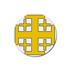 Jerusalem Cross Rubber Coaster (round)  by abbeyz71