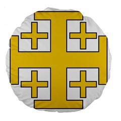 Jerusalem Cross Large 18  Premium Flano Round Cushions by abbeyz71