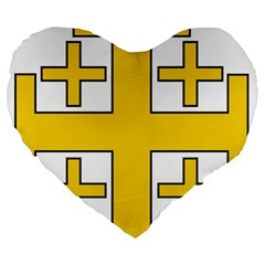 Jerusalem Cross Large 19  Premium Flano Heart Shape Cushions by abbeyz71