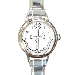 Anchored Cross Round Italian Charm Watch by abbeyz71