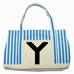 Forked Cross Striped Blue Tote Bag by abbeyz71