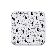 Elvis Presley Pattern Rubber Square Coaster (4 Pack)  by Valentinaart