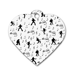 Elvis Presley Pattern Dog Tag Heart (one Side) by Valentinaart