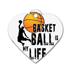 Basketball Is My Life Dog Tag Heart (two Sides) by Valentinaart