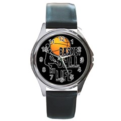 Basketball Is My Life Round Metal Watch by Valentinaart