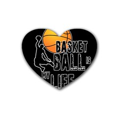 Basketball Is My Life Rubber Coaster (heart)  by Valentinaart