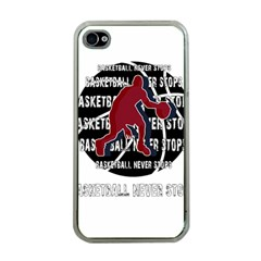 Basketball Never Stops Apple Iphone 4 Case (clear) by Valentinaart
