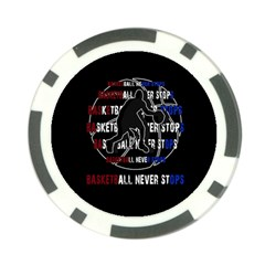 Basketball Never Stops Poker Chip Card Guard by Valentinaart